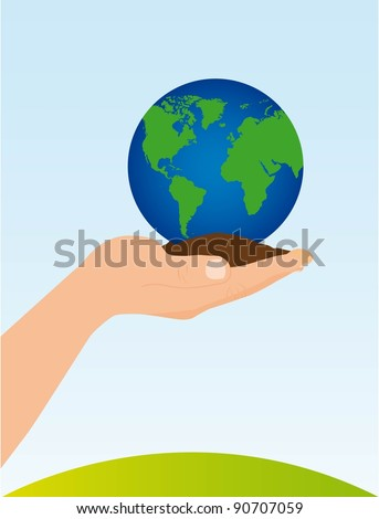 hand holding soil and planet vector illustration. conceptual image