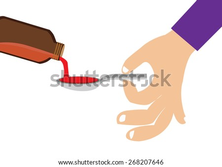 Hand holding spoon dose of medicine liquid. Vector Illustration - stock vector