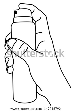 hand holding spray, Deodorant, illustration - stock vector