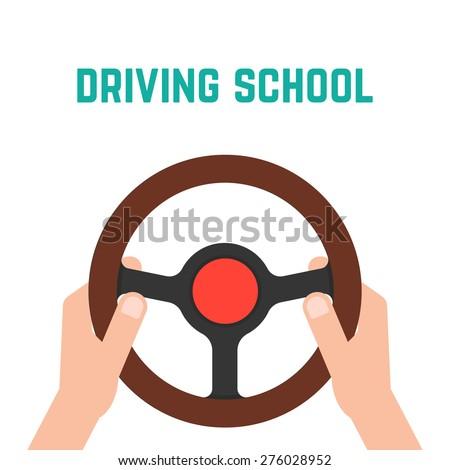 hand holding steering wheel. concept of trip, highway, guide, equipment, rudder, handlebar, training in driving school. flat style trendy modern logo design vector illustration - stock vector