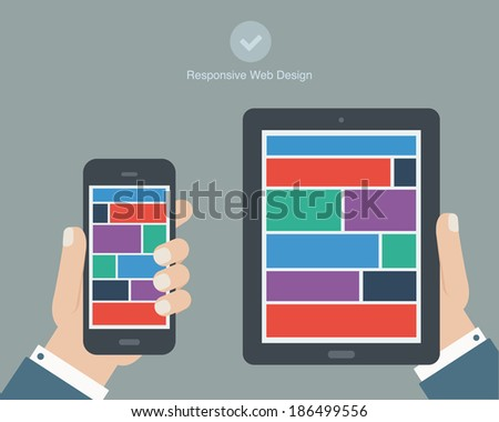 hand holding tablet and phone flat design - stock vector