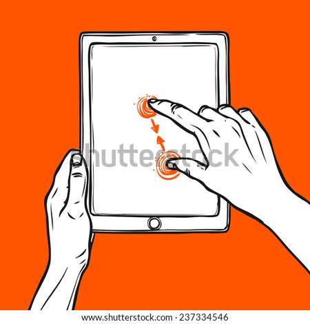 Hand holding tablet portable device and pinch gesture sketch on red background vector illustration - stock vector