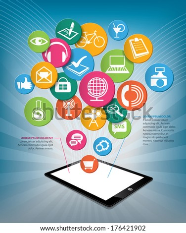Hand holding tablet with icons?Communication in the network social - stock vector