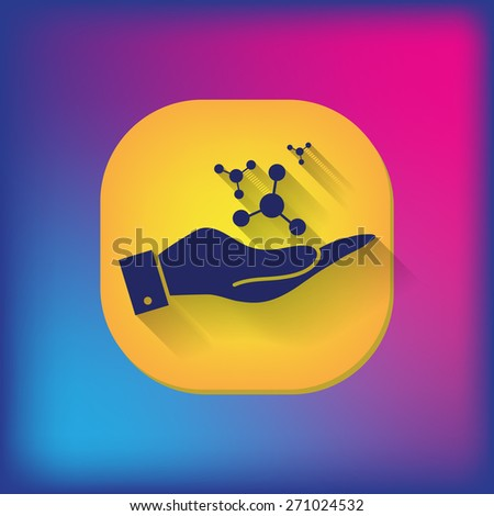 hand holding the atom, molecule. the symbol of physics and chemistry. symbol icon of physics or chemistry . the study of science - stock vector