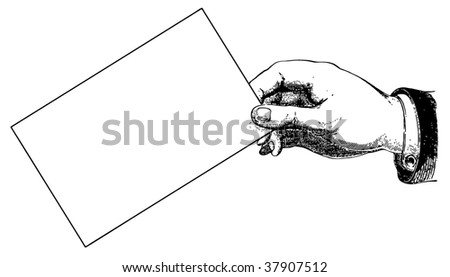 Hand holding the card. Imitation of an ancient engraving - stock vector
