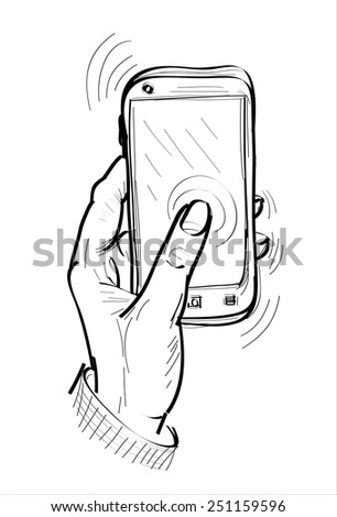 hand holding the phone - hands sketch vector illustration - stock vector
