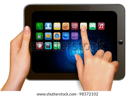 Hand holding touchpad pc and finger touching it's screen with icons. Vector. - stock vector