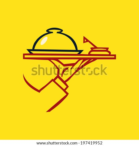 Hand holding tray  with dome and souse  ,vector  icon - stock vector