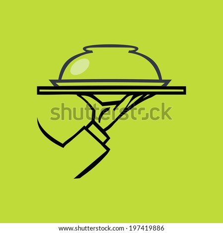 Hand holding tray  with dome  ,vector  icon - stock vector