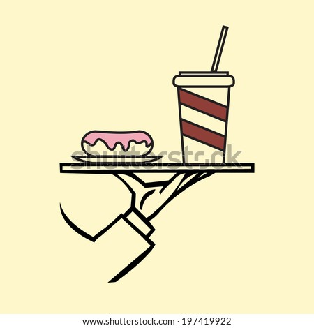 Hand holding tray  with donut and cappuccino ,vector  icon - stock vector