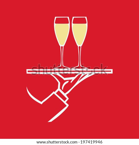 Hand holding tray  with glasses with champagne  ,vector  icon - stock vector