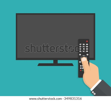 Hand holding tv remote control in front of a big flat lcd tv with blank screen. Flat style