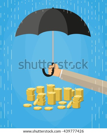 Hand holding umbrella under rain to protect money.  money protection, financial savings concpet. vector illustration in flat style on blue background - stock vector