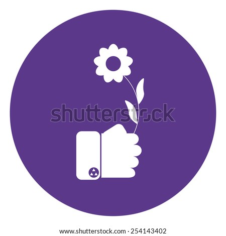 hand holding white flower  - stock vector