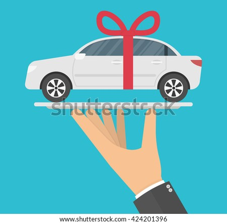 Hand holding white gift car with a red bow on it on a serving tray. Flat style - stock vector