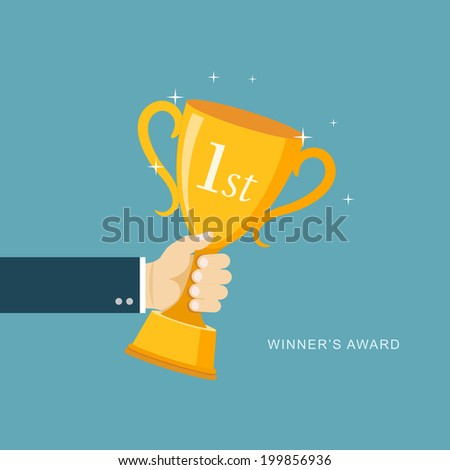 Hand holding winner's trophy award flat illustration. eps8 - stock vector