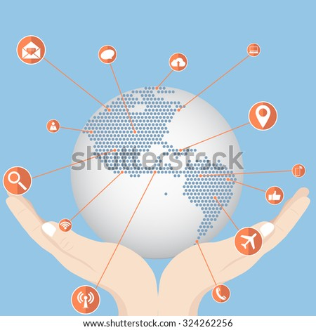 Hand holding World Map Globe with Web icons, Business icons and Technology icons for technology and business concept, Vector Illustration EPS 10. - stock vector
