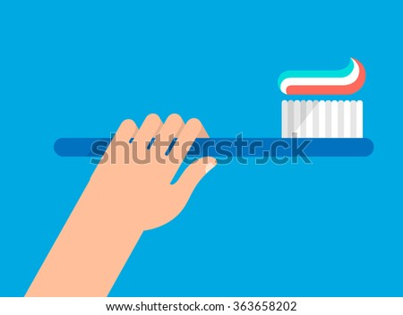 Hand holds a toothbrush with a paste. Left position. Hygiene and teeth care concept. Isolated vector illustration flat design. - stock vector
