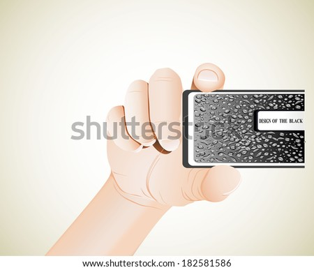 Hand holds business card - stock vector