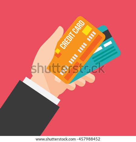 hand holds credit cards. business and lifestyle design concept. vector illustration.