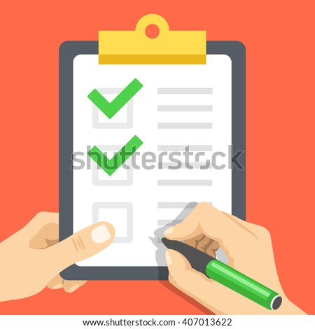 Hand holds document with checkmarks and hand with pen about to write one more tick. Clipboard with green check marks. Survey, quiz, to-do list, agreement flat design concept. Vector illustration - stock vector