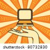 Hand holds the laptop in the background binary code - stock vector