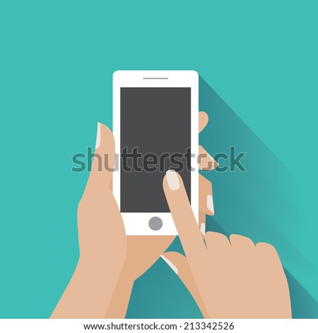 Hand holing white smartphone, touching blank screen. Using mobile smart phone, flat design concept. Eps 10 vector illustration - stock vector