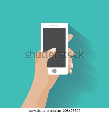 Hand holing white smartphone, touching blank screen. Using mobile smart phone similar to iphon, flat design concept. Eps 10 vector illustration - stock vector