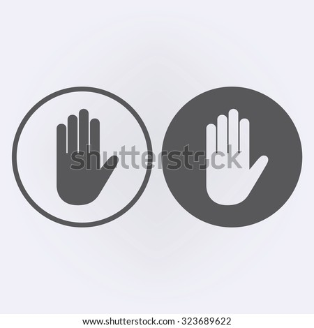 Hand icon in circle . Vector illustration - stock vector
