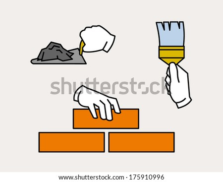 Hand icon laying brick, using spatula or trowel. painting with brush - stock vector