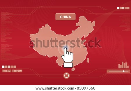 hand icon pushing china map on touchscreen, technology concept - stock vector