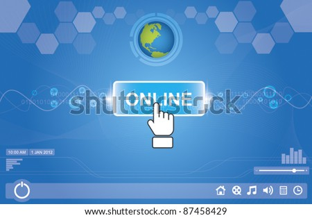 hand icon pushing icon person - stock vector