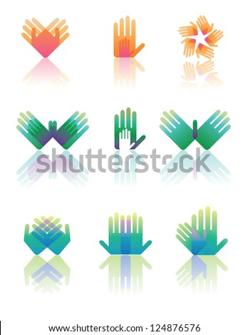 Hand Icon Symbol Set Vector EPS 8 no open shapes or paths. - stock vector