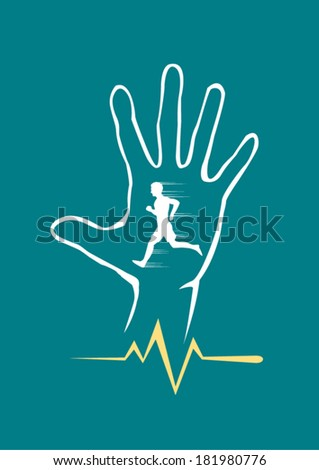Hand icon  with Man Running and pulse line vector - stock vector