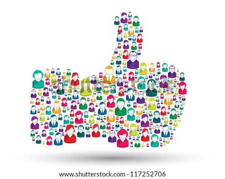 hand icons of people with the symbol of like - stock vector