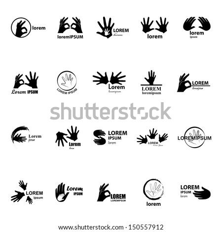 Hand Icons Set - Isolated On White Background - Vector Illustration, Graphic Design Editable For Your Design. Hand Logo - stock vector