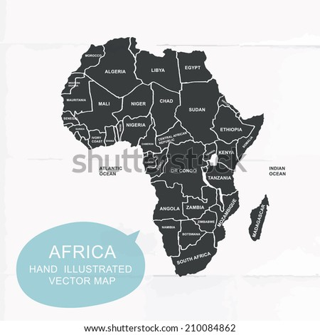 Hand illustrated vector map of Africa. Detailed illustration of states. - stock vector