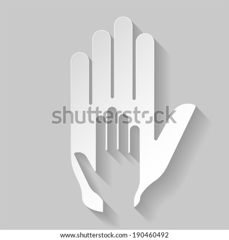 Hand in hand illustration in paper style. Idea of assistance, help  and cooperation - stock vector