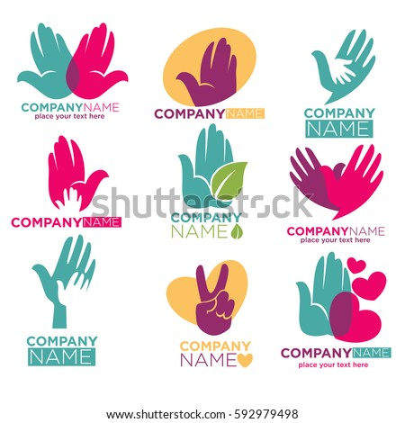 Hand Hands Logo Templates Heart Leaf Stock Vector HD (Royalty Free ...