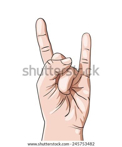 Hand in rock n roll sign, vector illustration - stock vector