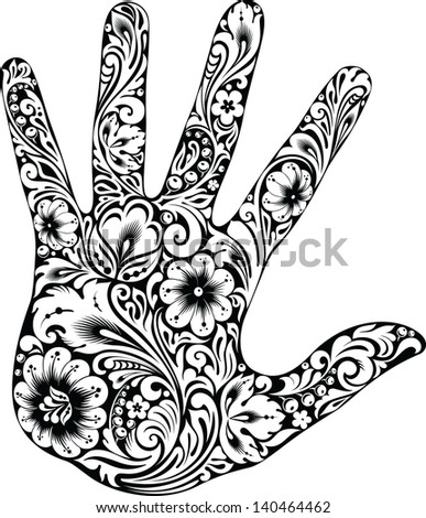 Hand in the flowers B&W - stock vector