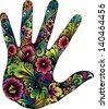 Hand in the flowers II - stock vector