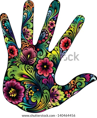 Hand in the flowers II - stock vector