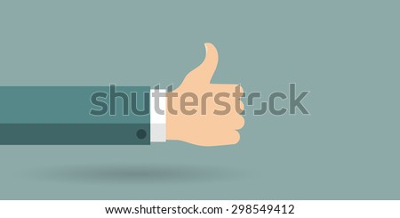 Hand in thumbs up sign. Positive feedback. Vector illustration. - stock vector