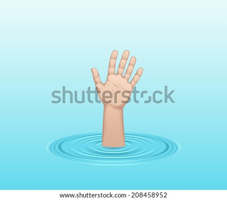 Hand in water - stock vector