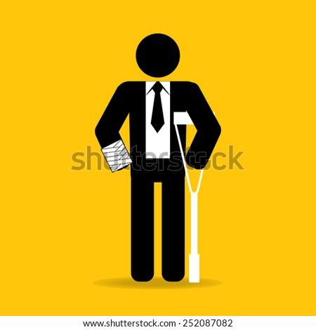 hand injured cartoon businessman in bandage with crutches : be careful prevent accidents : safety health concept on yellow background vector - stock vector