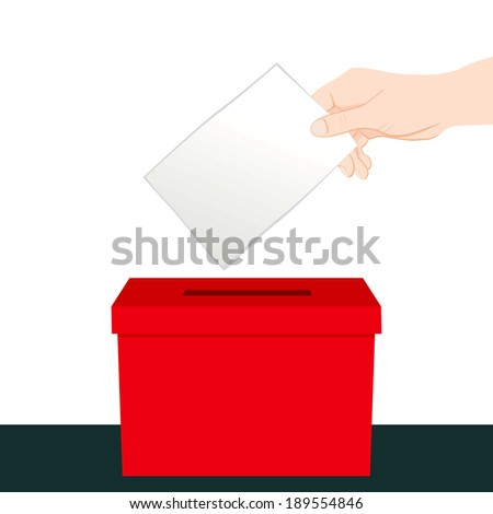 Hand inserting a paper ballot voting on a red ballot box - stock vector