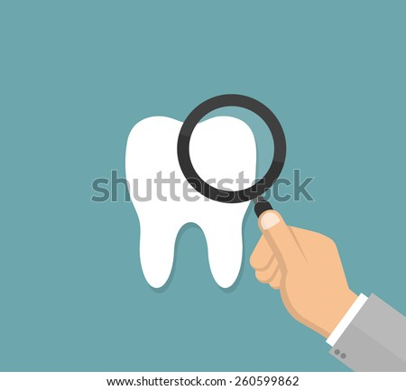 Hand inspecting a tooth with a magnifying glass - dental examination concept in flat style - stock vector