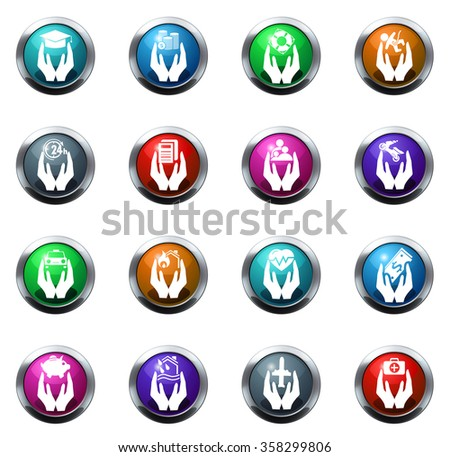 Hand insurance round glossy web icon set