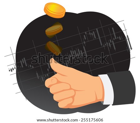 Hand is tossing coin on a chart background. Heads or tails. - stock vector